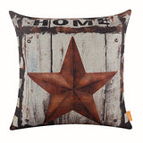 Linkwell 18X18 Vintage Usa American Style Five Stars West Cowboy Wood Look Rusted Pillowcase Cushion Cover For Car Dcor (Cc1122)