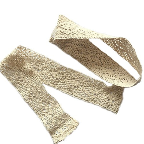 Zhh 1 Pair Handcrafted Openwork Crochet Cotton Holdbacks Curtain Straps Decorative Tie-Backs, 16 Inches Long