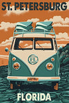 St. Petersburg, Florida - Vw Van Letterpress (16X24 Collectible Giclee Gallery Print, Wall Decor Travel Poster)