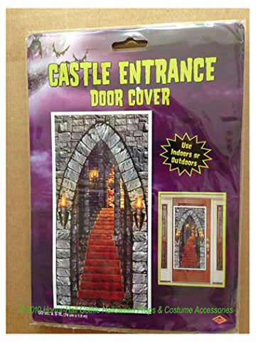 Gothic Halloween Castle Entrance Door Cover Wall Party Medieval Decoration