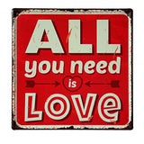 Lares Domi Retro Style Wall Dcor Vintage Finish All You Need Is Love Tin Sign 12'' X 12''