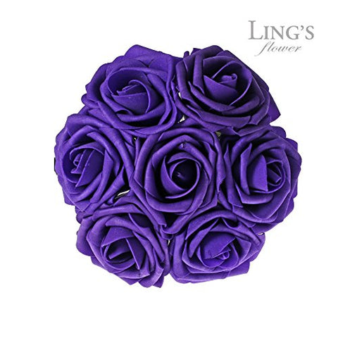 Ling'S Moment Artificial Flowers 50Pcs Purple Real Looking Artificial Roses For Wedding Bouquets Centerpieces Party Baby Shower Decorations Diy