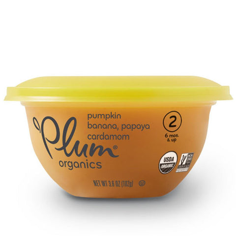 Plum Organics Baby Stage 2 Bowl, Organic Baby Food, Pumpkin, Banana, Papaya & Cardamom, 3.6 Ounce Bowl