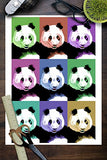 Panda Pop Art - Visit The Zoo (9X12 Art Print, Wall Decor Travel Poster)