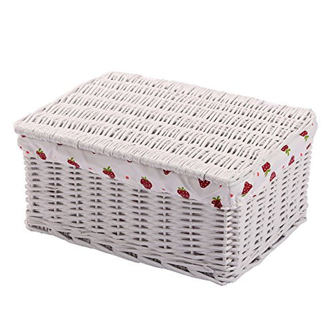 Woven Wicker Basket With Lid Handmade Rectangular Bins,Kingwillow.(Large, White)