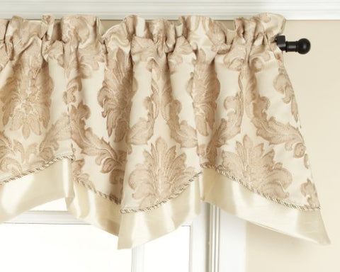 Renaissance Home Fashion Darby Layered Scalloped Valance With Cording, Ivory, 50 By 17-Inch