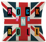 Cotton Linen Various Creative British Union Jack Design And Funny Quote Rock Roll Throw Pillow Covers Cushion Cover Decorative Sofa Bedroom Living Room Square 18 Inches Christmas Gift
