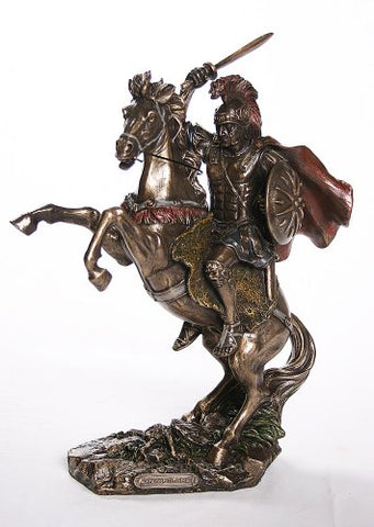 Bronzed Finish Alexander The Great On Horseback Statue