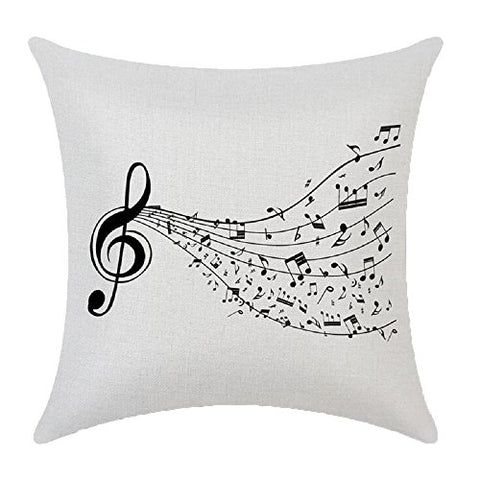 Music Printed Cushion Cover Livebycare Linen Cotton Cover Throw Pillow Case Sham Pattern Zipper Pillowslip Pillowcase For Decor Decorative Drawing Living Room