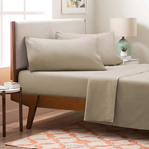 Linenspa Brushed Microfiber Ultra Soft Bed Sheet Set - Wrinkle Resistant - Full Size - Sand