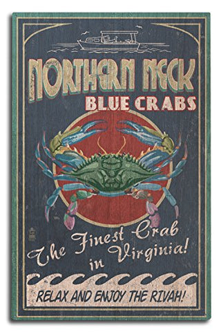Northern Neck, Virginia - Blue Crab Vintage Sign (10X15 Wood Wall Sign, Wall Decor Ready To Hang)