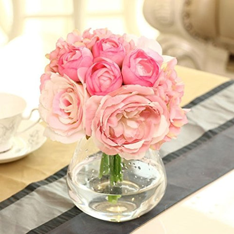 Peony Roses Silk Flower Bouquet Hydrangeas Bridal Nosegay For Wedding Party Decor, Pink
