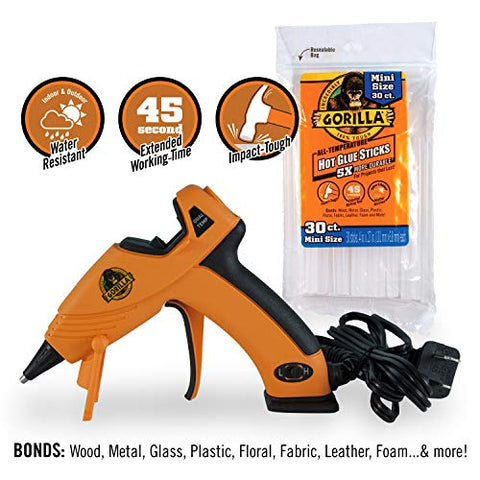Gorilla 8401509 Hot Glue Gun And Sticks