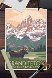 Grand Teton National Park - Moose And Mountains (12X18 Art Print, Wall Decor Travel Poster)