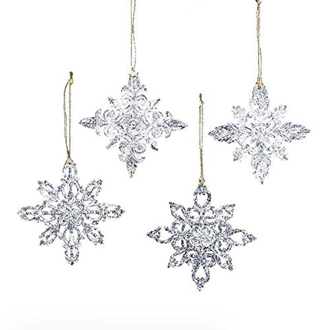 3.5 Acrylic Snowflake Ornament, Set Of 4 Assorted - Christmas Ornament By Kurt Adler