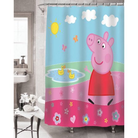 Super Cute, Machine Washable Peppa Pig Peppa'S Pond Shower Curtain, 72  X 72