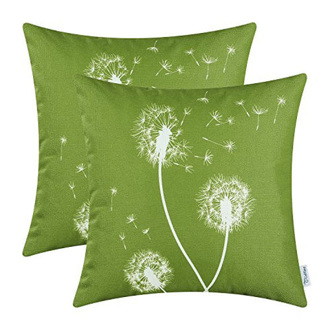 Calitime Canvas Throw Pillow Covers Cases For Couch Sofa Home Decor, Dandelion Print, 18 X 18 Inches, Olive Green