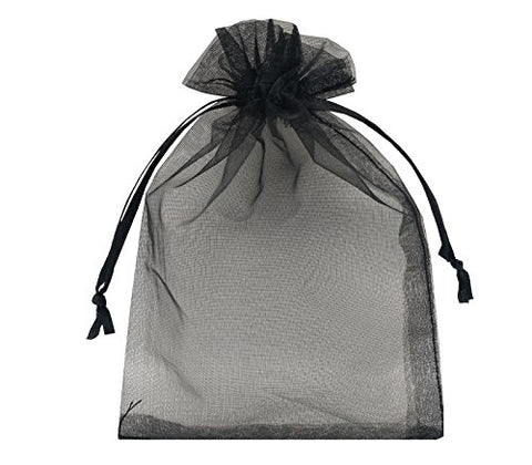 Sanrich Sheer Organza Bags 60Pcs Favor Gift Bag Drawstring Mesh Bags Business Packages (4X6, Black)