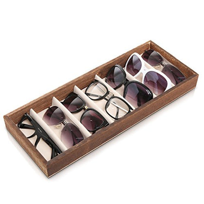 Modern Brown Wood 7 Compartment Eyewear Storage Organizer Box / Open Top Sunglasses Display Case