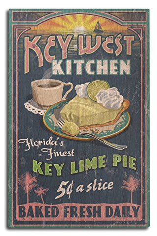 Key West, Florida - Key Lime Pie Vintage Sign (10X15 Wood Wall Sign, Wall Decor Ready To Hang)