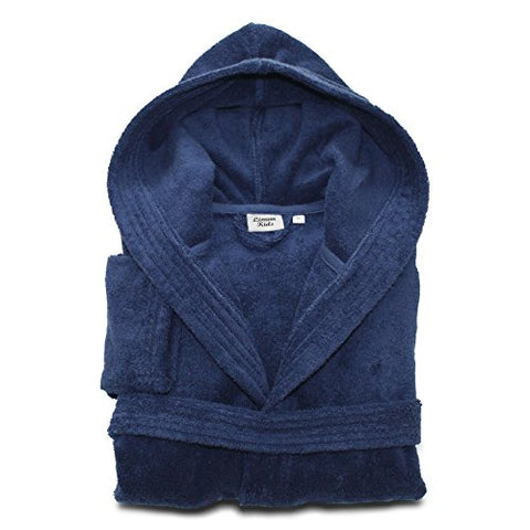 Linum Home Textiles Linum Kids Hooded Unisex Terry Bathrobe Premium 100% Authentic Turkish Cotton Robe, Small, Midnight Blue