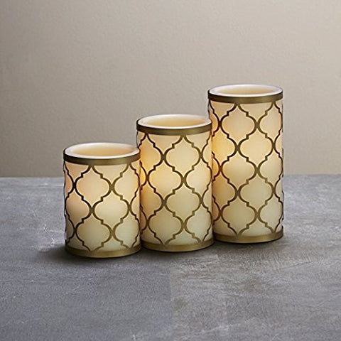 3 Ivory Flameless Pillar Candles With 3 Brass Removable Metal Holders, Warm White Leds, Moroccan Design, Remote & Batteries Included