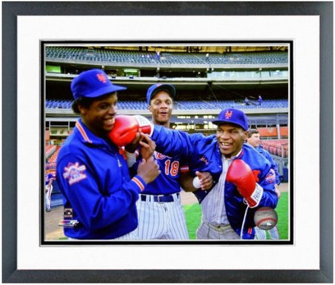 Dwight Gooden, Darryl Strawberry, Mike Tyson New York Mets Photo (Size: 12.5  X 15.5 ) Framed