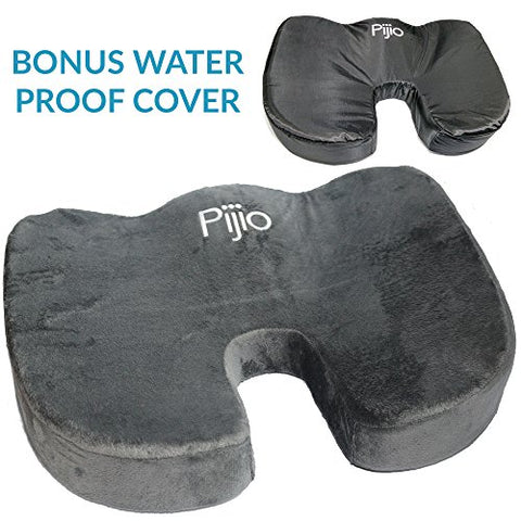 Flash Sale! Pijio Coccyx Orthopedic Comfort Memory Foam Seat Cushion - Water Proof Cover Included Free - Relieves Sciatica, Back Pain, Tailbones, Spine, Hips (Gray)