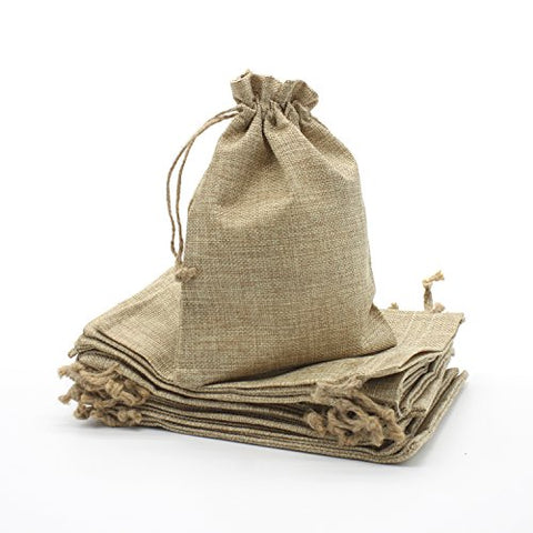 20 Pcs Faux Burlap Bags Wedding Paty Favor Small Gift Drawstring Sack (6 X8 )