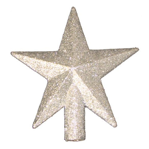4 Petite Treasures Silver Glittered Mini Star Christmas Tree Topper - Unlit