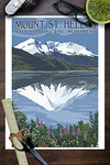 Mount St. Helens, Washington - Before And After Views (9X12 Art Print, Wall Decor Travel Poster)