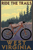 West Virginia - Ride The Trails (9X12 Art Print, Wall Decor Travel Poster)