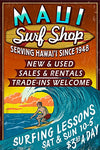 Surf Shop Vintage Sign - Maui, Hawaii (9X12 Art Print, Wall Decor Travel Poster)