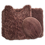 Lavish Home 3-Piece Super Plush Non-Slip Bath Mat Rug Set, Chocolate