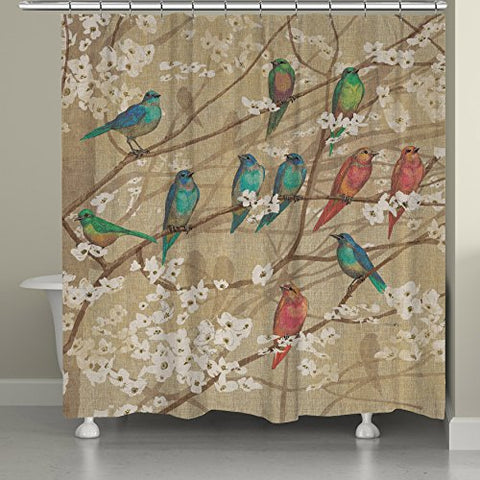 Laural Home Birds And Blossoms Shower Curtain, 71  X 74 , Tan