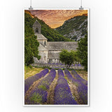 Provence, France - Lavender Fields (9X12 Art Print, Wall Decor Travel Poster)
