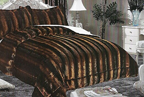 La Rug Linens 3 Piece Borrego Blanket Standard King Size 87 X 95 (2.2M X 2.4M) Faux Fur Teddy Bear Two Tone Light Brown Dark Brown Black Caramel Multi Color Soft (Rostove)
