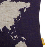 Linkwell 20 X 12 World Map Burlap Pillow Cases Cushion Covers