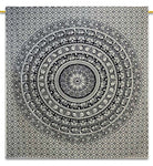 Labhanshi 90 X 90 Inch Elephant Mandala Indian Traditional Hippie Cotton Tapestry, Black And White, Queen