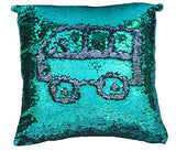 Livedeal Reversible Sequins Mermaid Pillow Cases 40*40Cm Olive-Green And Silver