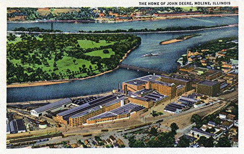 Moline, Illinois - Aerial View Of The John Deere Plant (9X12 Art Print, Wall Decor Travel Poster)