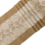 Ling'S Moment 12X72 Inch Burlap And Lace Table Runner Country Rustic Wedding Decorations, Farmhouse Kitchen Decor, Baby & Birdal Shower Decoration