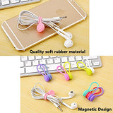 Magnetic Earphone Winder,Lavince 8Pcs Magnetic Cord Winder Wrap For Headphones/ Date Usb Cable,Soft Silicone Earphone Cable Cord Organizer For Iphone/ Ipad/ Samsung, Also Use As Bookmarks/ Keychain