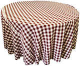La Linen Poly Checkered Round Tablecloth, 120-Inch, Burgundy/White