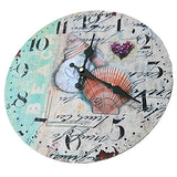 Love(Tm)12Inch Wooden Clock Shabby Chic Retro Arabic Numeral  Sea Shell  Pattern Wooden Wall Clock Kitchen Livingroom Bedroom Decoration(12 ,D)(Non-Ticking,No Glass Cover,No Frmae)