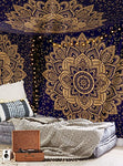 Exclusive  Orignal Blue Gold Ombre Tapestry By Labhanshi , Mandala Tapestry, Queen Indian Mandala Wall Art Hippie Wall Hanging Bohemian Bedspread