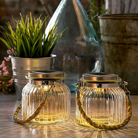 2 Glass Solar Lighted Jars With Warm White Leds, Nautical Rope Handles, Rechargeable Battery Included