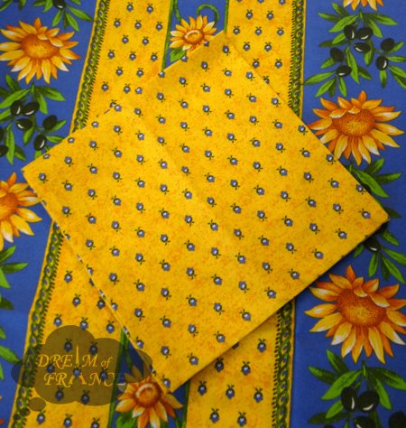 Sunflower Blue Provence Cotton Napkin By Le Cluny