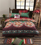 La Mejor Queen Size Microfiber Bohemia Exotic Patterns Duvet Cover Sets Dark Green