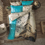 Twin Bedding Set Paris With Duvet Cover, 4 Pieces Cotton Eiffel Tower Themed Bedspread Lettering Illustration Digital Print, Blue